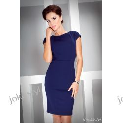 jokastyl* Elegancka GRANATOWA sukienka M 38