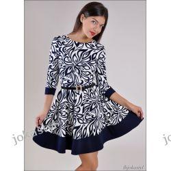 jokastyl GRANATOWA rozkloszowana sukienka PASEK L 40