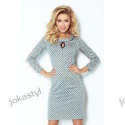 jokastyl Sukienka z łezką MAŁE ROMBY SZARA XL 42 Sukienki maxi
