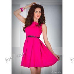 jokastyl Malinowa rozkloszowana sukienka PASEK M 38