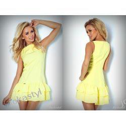 jokastyl Sukienka falbanki marciano żółta L 40 Sukienki mini