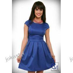 jokastyl Sukienka GRANATOWA rozkloszowana rękaw S 36 Sukienki mini