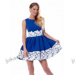 jokastyl Śliczna CHABROWA sukienka z koronką M 38