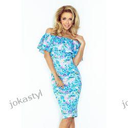 jokastyl Sukienka hiszpanka kwiaty niebieska XS 34 Sukienki mini