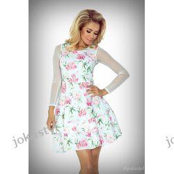 joka Sukienka TIULOWE rękawy kwiaty M 38 Sukienki mini