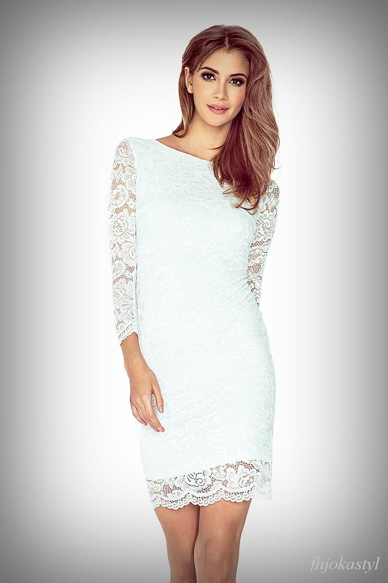 be5439533c jokastyl Koronkowa sukienka ecru S 36 mini rękaw 3 4-te na Bazarek.pl