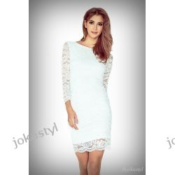 jokastyl Koronkowa sukienka ecru XL 42 mini rękaw 3/4-te Sukienki mini