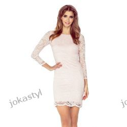 jokastyl Koronkowa sukienka BRZOSKWINIOWA XL 42 mini rękaw 3/4-te