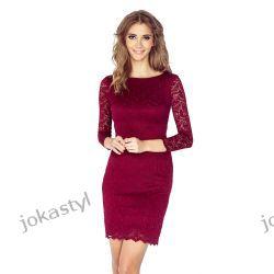 jokastyl Koronkowa sukienka BORDOWA S 36 mini rękaw 3/4-te Sukienki mini