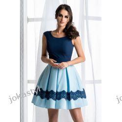 jokastyl Dwukolorwa sukienka niebieski/granat XS 34 S 36  M 38 L 40