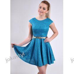 jokastyl TURKUS rozkloszowana sukienka KORONKA L 40 Sukienki mini