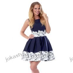 jokastyl Śliczna granatowa sukienka z koronką M 38 Sukienki mini