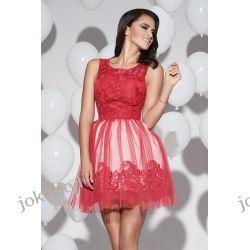 jokastyl sukienka z koronką i tiulowym dołem czerwona M 38