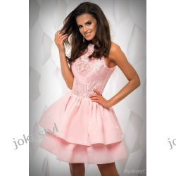 JOKASTYL sukienka falbany PUDROWY RÓŻ gipiura L 40 Sukienki mini