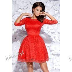 jokastyl Sukienka koronkowa rozkloszowana XS S M L XL czerwona Sukienki mini