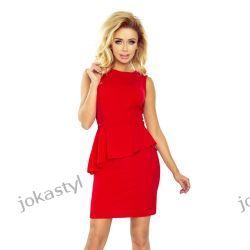 jokastyl Elegancka sukienka z baskinką CZERWONA S M L XL 36 38 40 42