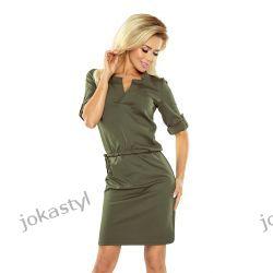 jokastyl Sportowa KHAKI sukienka rękaw 3/4te S M L XL 36 38 40 42 Sukienki mini