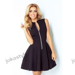 JOKASTYL  Sukienka z ekspresem z przodu i kieszonkami czarna S M L XL 36 38 40 42