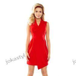 JOKASTYL Elegancja asymetryczna sukienka kołnierz S M L XL czerwona Sukienki mini