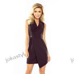 JOKASTYL Elegancja asymetryczna sukienka kołnierz S M L XL czarna