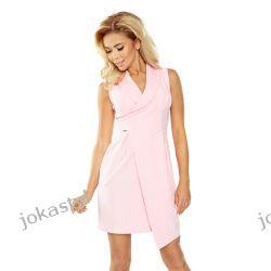 JOKASTYL Elegancja asymetryczna sukienka kołnierz S M L XL pastelowy róż Sukienki midi