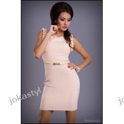 jokastyl Śliczna sukienka rękawy falbanki beżowa L 40 Sukienki mini