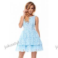 jokastyl Efektowna koronkowa sukienka XS S M L niebieska Sukienki mini