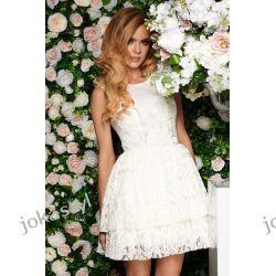 540dcd40f8 JOKASTYL Piankowa różowa SZARA koronka sukienka falbany koronka XS ...