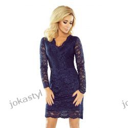 jokastyl Piękna koronkowa sukienka długi rękaw S M L XL granatowa Sukienki mini