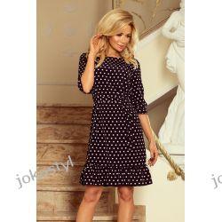 jokastyl Sukienka MAYA czarna w białe grochy S M L XL
