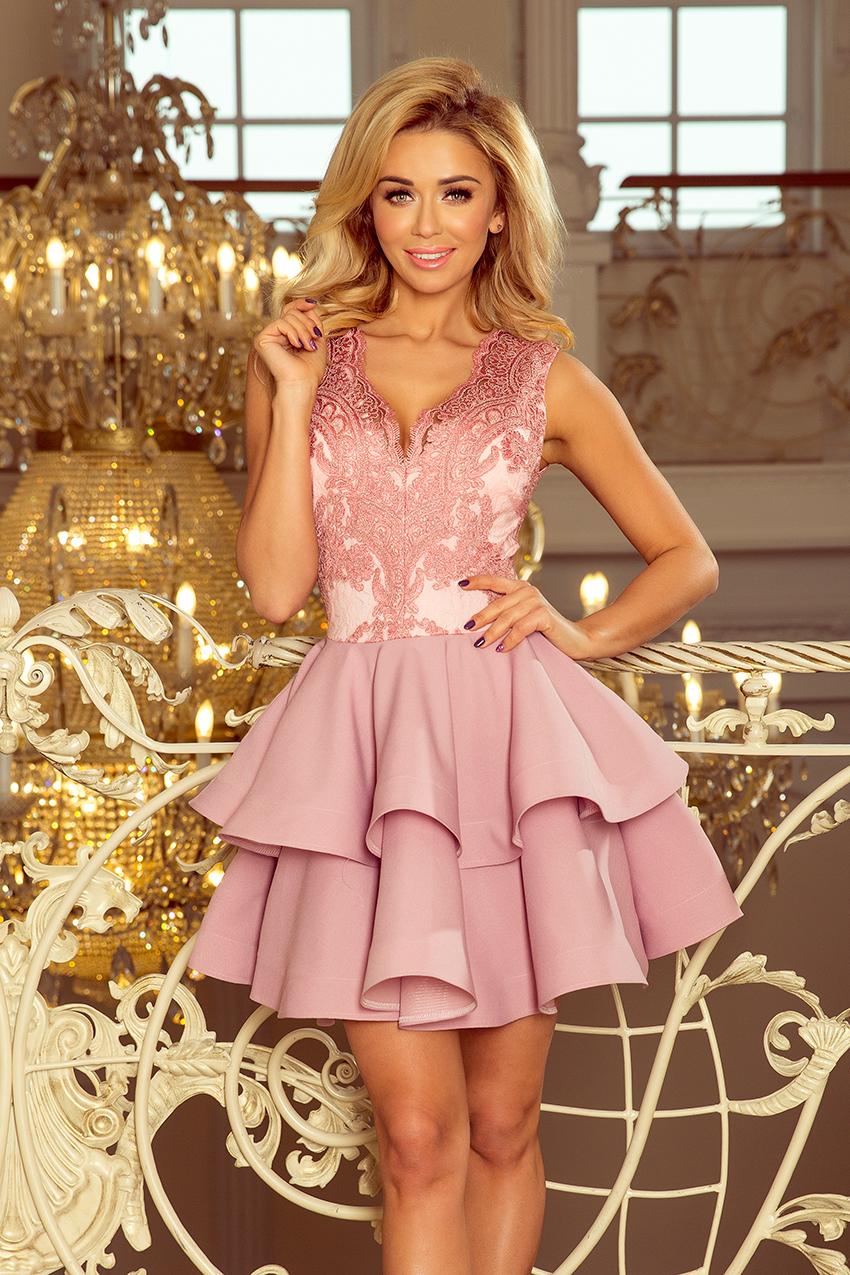 f2e5b17abb CHARLOTTE ekskluzywna sukienka koronkowy dekolt PUDROWY RÓŻ na ...