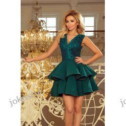 CHARLOTTE ekskluzywna sukienka koronkowy dekolt zielona