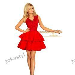 CHARLOTTE ekskluzywna sukienka koronkowy dekolt czerwona Sukienki maxi