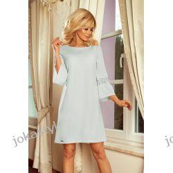 MARGARET sukienka z koronką na rękawkach BŁĘKIT S M L XL