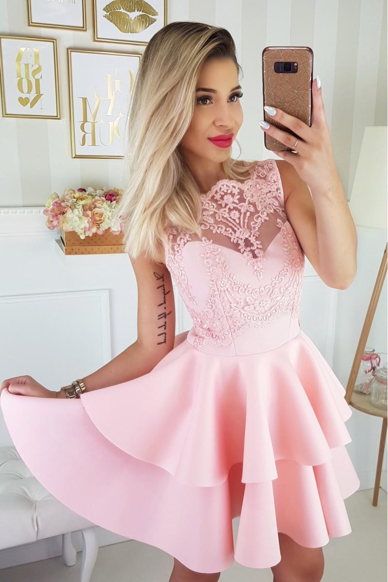 5c8c3f2b22 JOKASTYL Piankowa różowa sukienka falbany koronka XS S M L na ...