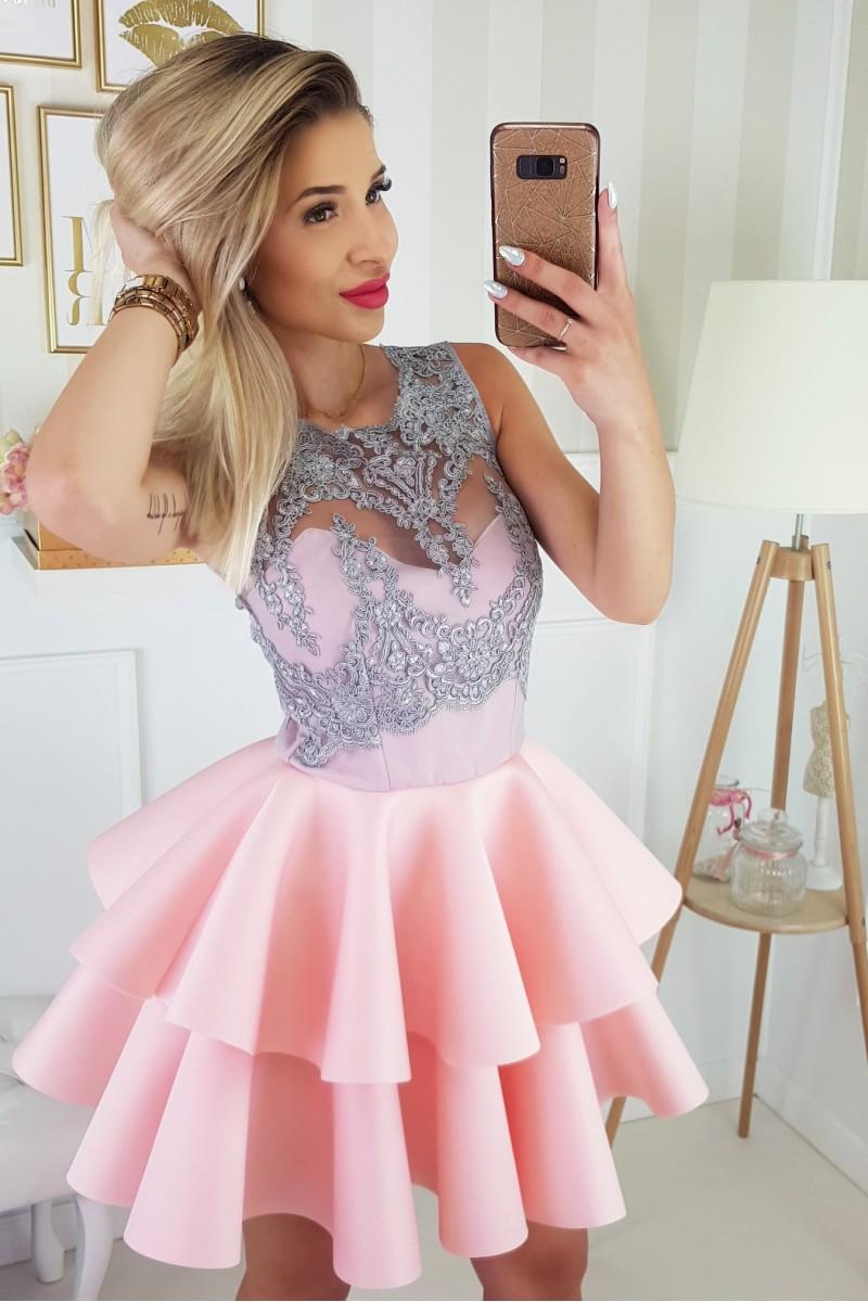 211837a0b8 JOKASTYL Piankowa różowa SZARA koronka sukienka falbany koronka XS S M L