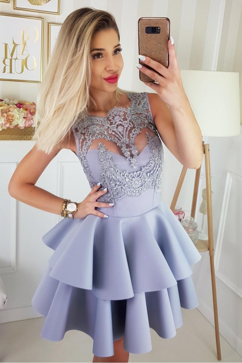 f78db3ff6e JOKASTYL Piankowa SZARA sukienka falbany koronka XS S M L na Bazarek.pl