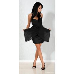 Piękna czarna sukienka szyfon S Wesele Bal