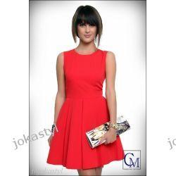 JOKASTYL Sukienka asymetryczna CZERWONA S 36 rozkloszowana Sukienki midi