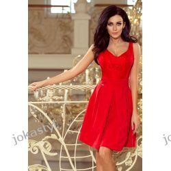jokastyl czerowna sukienka koronka dekolt XS S M L XL