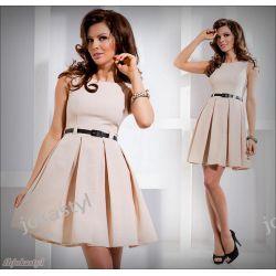 jokastyl beżowa rozkloszowana sukienka PASEK L 40 Sukienki mini