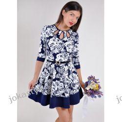 jokastyl GRANATOWA rozkloszowana sukienka PASEK XL 42 wzory Sukienki midi