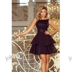 JOKASTYL DEVI rozkloszowana sukienka haftowana góra CZARNA S M L XL