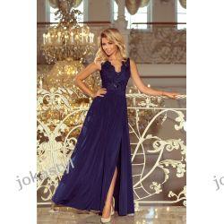 jokastyl LEA długa suknia bez rękawków z koronkowym dekoltem GRANATOWA S M L XL Sukienki mini