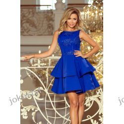 JOKASTYL DEVI rozkloszowana sukienka haftowana góra chabrowa S M L XL Sukienki midi