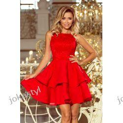 JOKASTYL LAURA rozkloszowana sukienka koronkowa góra Czerwona S M L X Odzież, Obuwie, Dodatki