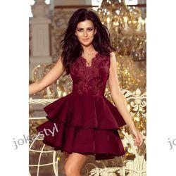 CHARLOTTE ekskluzywna sukienka koronkowy dekolt bordowa XS S M L XL Odzież, Obuwie, Dodatki