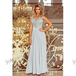 jokastyl LEA długa suknia bez rękawków z koronkowym dekoltem SZARA S M L XL Odzież, Obuwie, Dodatki