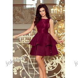 JOKASTYL LAURA rozkloszowana sukienka koronkowa góra BORDOWA S M L X Odzież, Obuwie, Dodatki