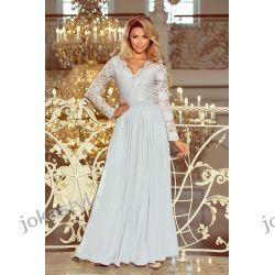 JOKASTYL maxi suknia koronkowa długi rękaw szara S M L XL Odzież, Obuwie, Dodatki